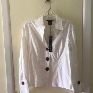 NWT  Willi Smith white cotton/ spandex blouse